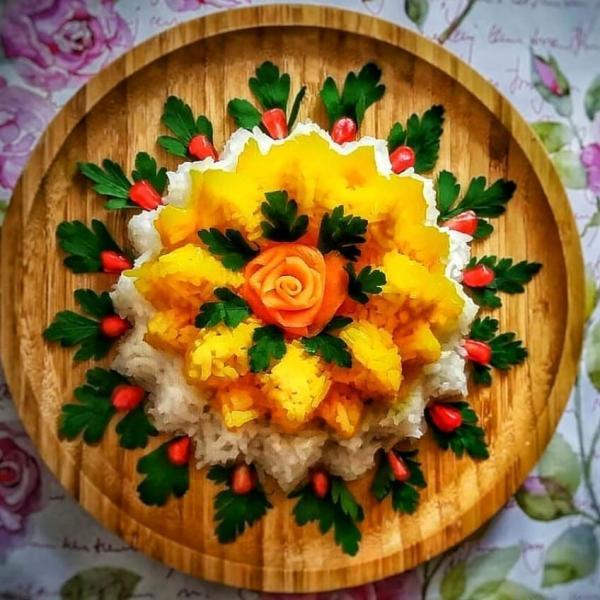 تزیین برنج,تزیین برنج مجلسی,انواع تزیین برنج مجلسی