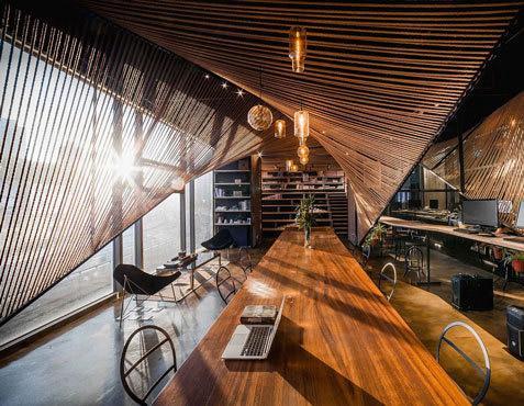 طراحی دفتر کار,طراحی دفتر کار با طناب,چیدمان دفترکار
