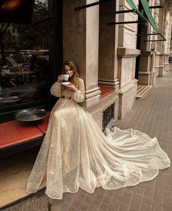 لباس عروس فرمالیته,لباس عروس فرمالیته آستین دار,شیک ترین لباس عروس فرمالیته