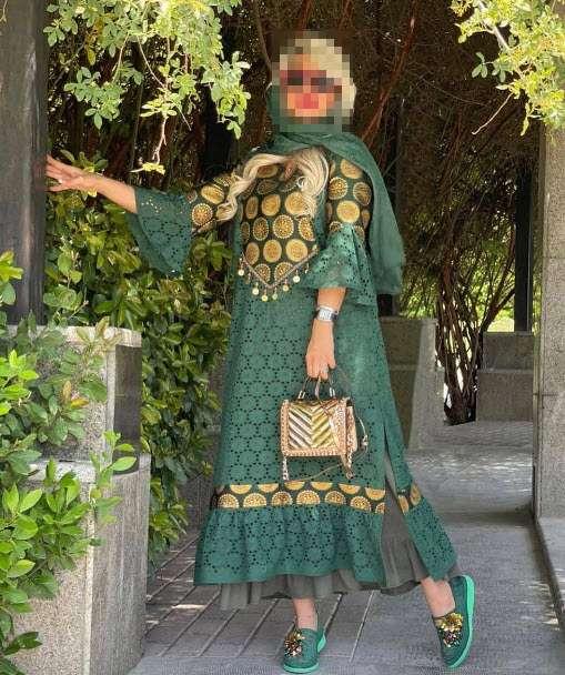 عکس ست مانتو سبز,مدل مانتو سبز,ست مانتو سبز با شلوار