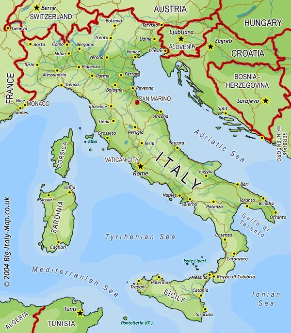 ایتالیا,نقشه ایتالیا,شهرهای ایتالیا