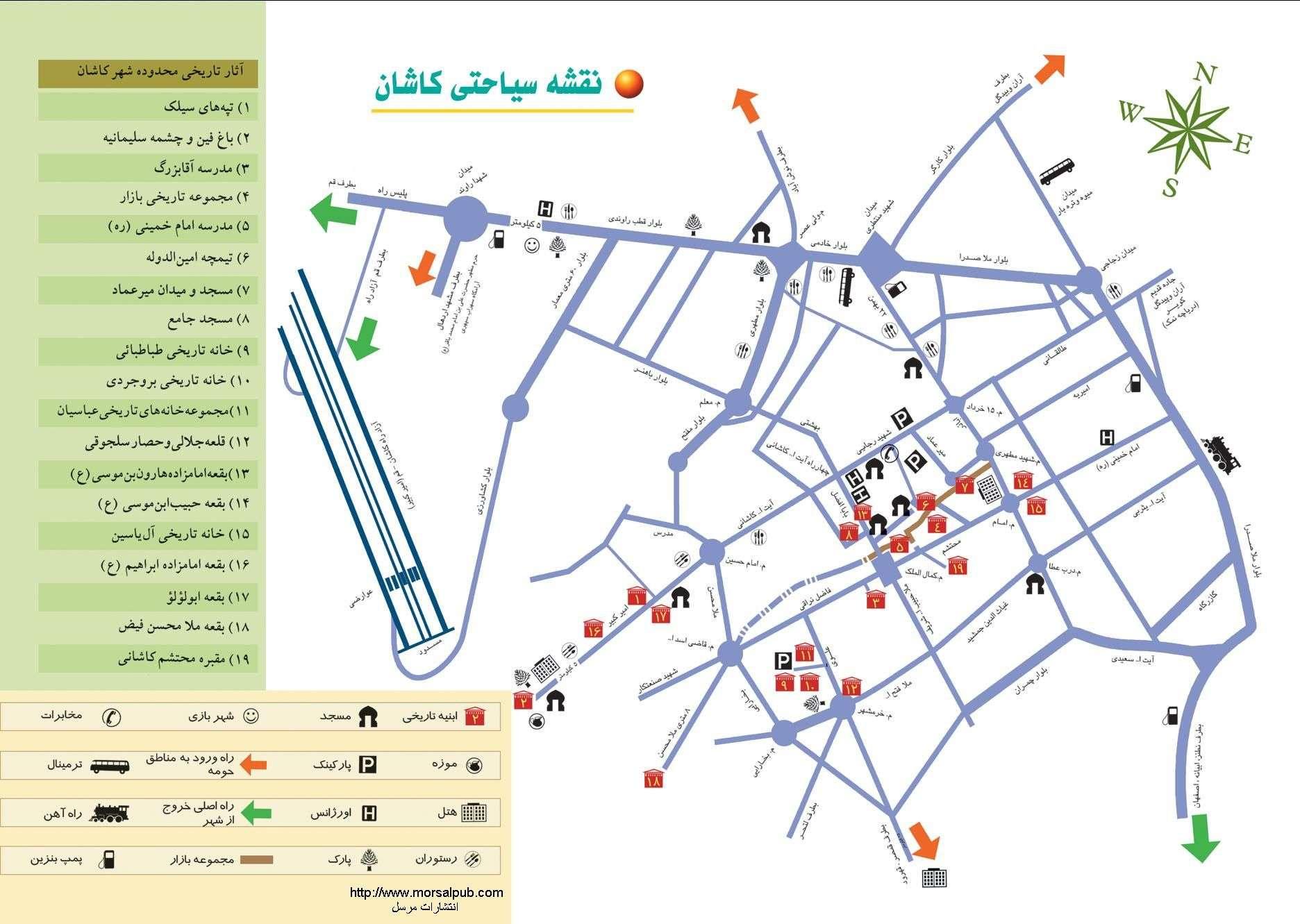 نقشه اشان,جاذبه های دیدنی کاشان,شهرهای اطراف کاشان