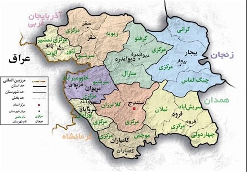 کردستان,نقشه استان کردستان,نقشه کردستان