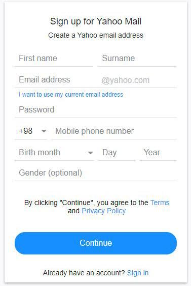 ساخت ایمیل در یاهو,چگونه ایمیل بسازیم,ساخت ایمیل یاهو